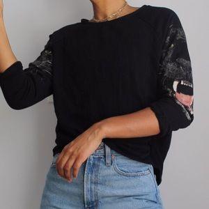 Print Sleeve Sweater